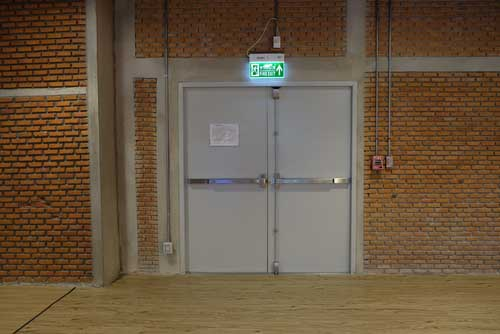 double leaf wide fire exit doors