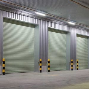 galvanised roller doors in warehouse