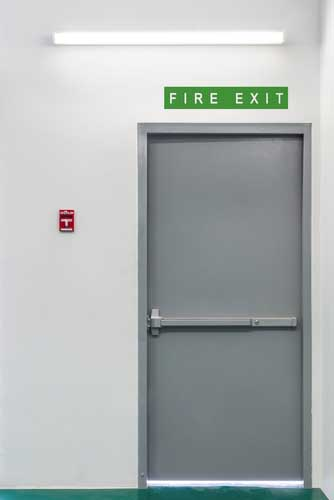 grey fire exit door