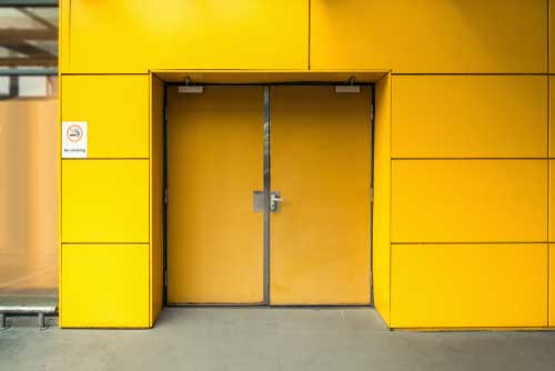 yellow fire exit doors