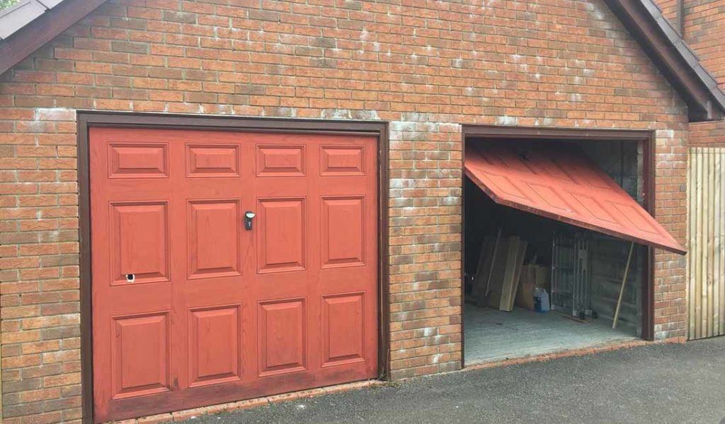 double garage with one broken door