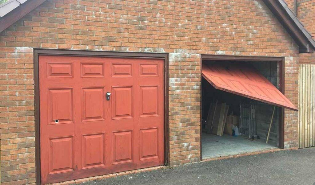 double garage with one broken door